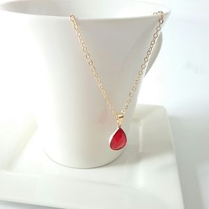 Jewelry - Red Crystal Water Drop Pendant Necklace